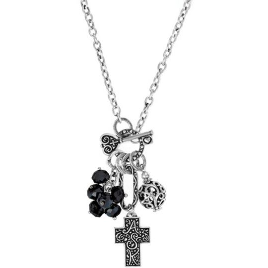 Cross ASK Cluster Necklace, Black