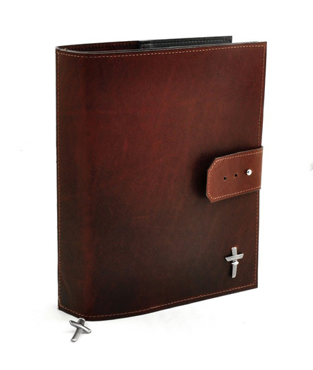 Leather Adjustable Bible Cover, Burgundy, Large