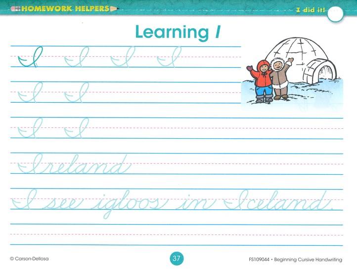 Beginning Cursive Handwriting (3) Homework Helper