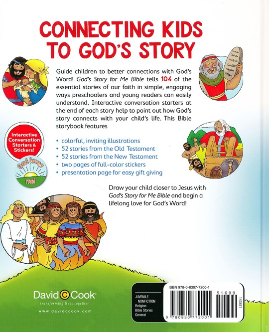 God's Story for Me Bible, Updated: 104 Life-Shaping Bible Stories for  Children