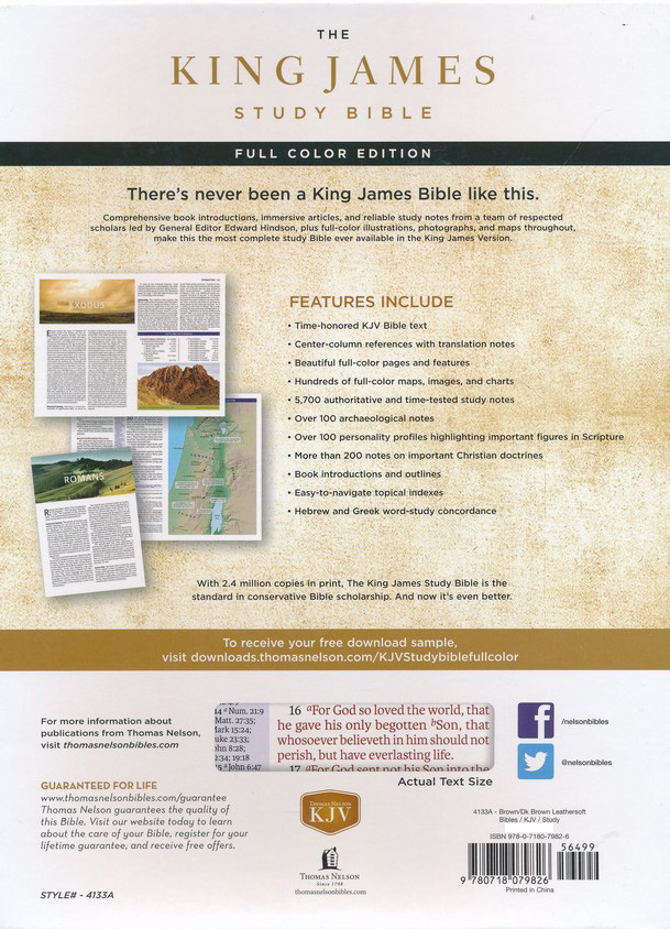 KJV Study Bible Full-Color Edition, Imitation Leather, Brown