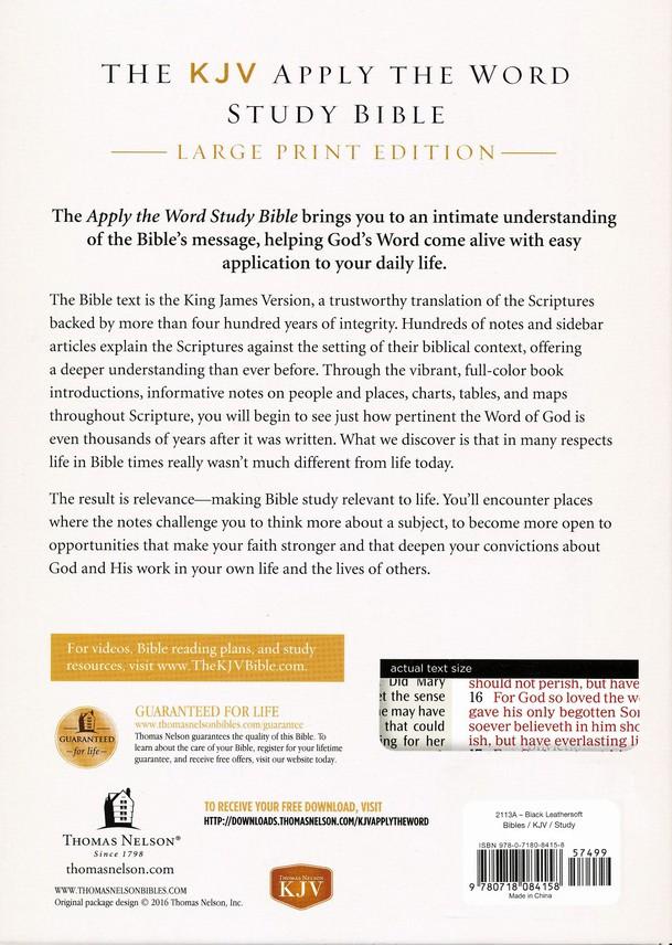 KJV Apply the Word Study Bible, Large Print, Imitation Leather, Black