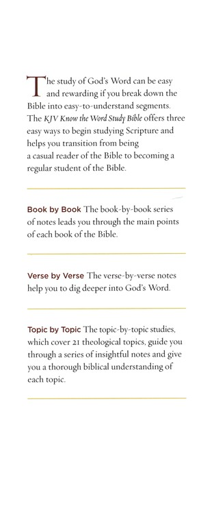 KJV, Know The Word Study Bible, Hardcover, Red Letter Edition