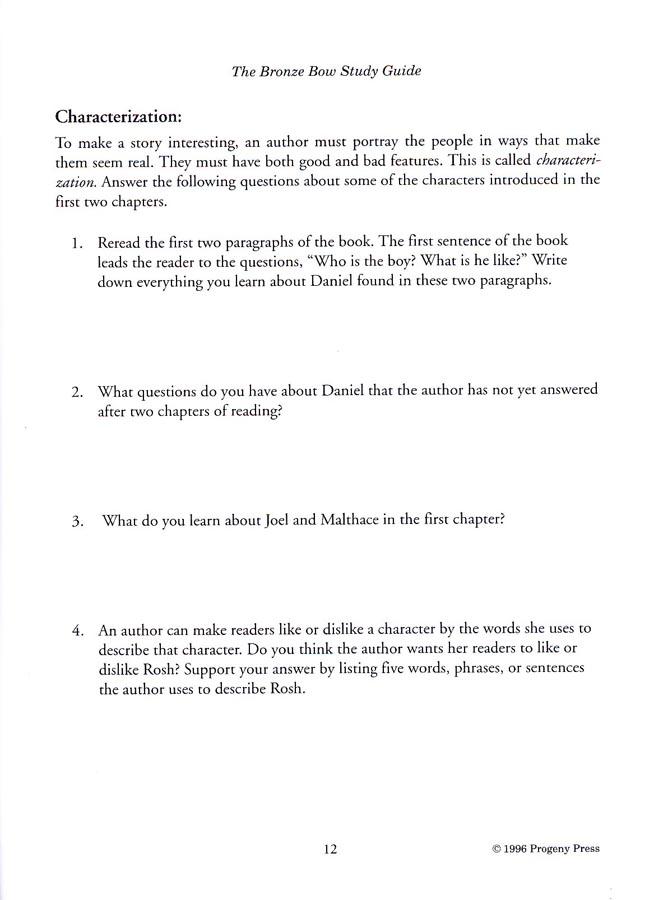 The Bronze Bow Progeny Press Study Guide, Grades 6-8