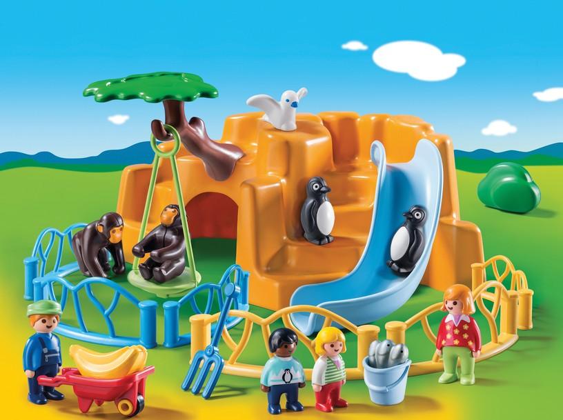 o21c09 Playmobil zoo grid white yellowed window animals shelter 3145 3435