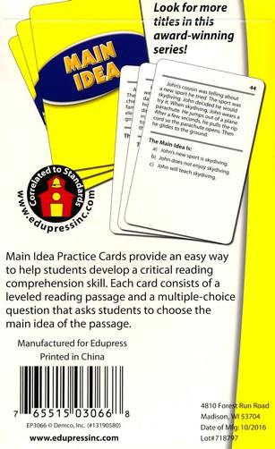 Reading Comprehension Practice Cards: Main Idea, Blue Level