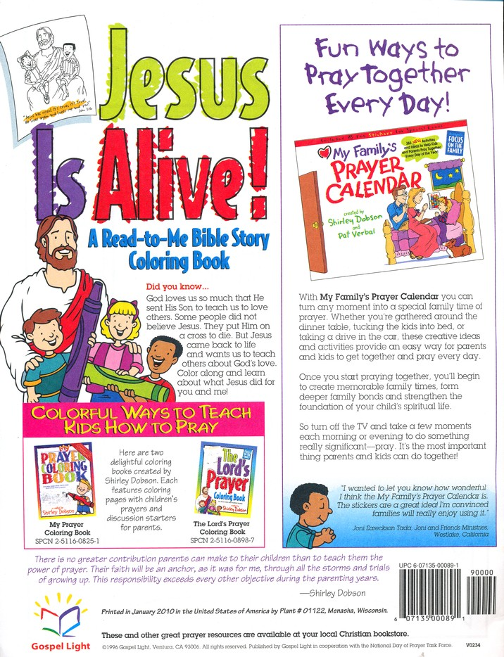 Jesus Is Alive Coloring Book Shirley Dobson 9780830773145