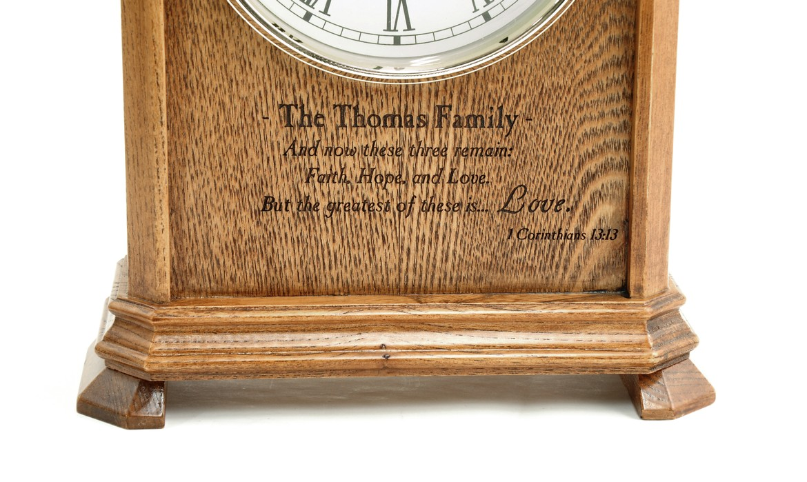 Personalized, Faith, Hope, Love Mantel Clock