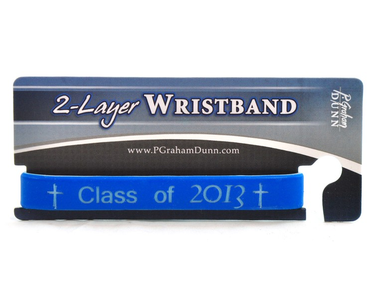 Personalized, Class of, Wristband With Cross, Blue
