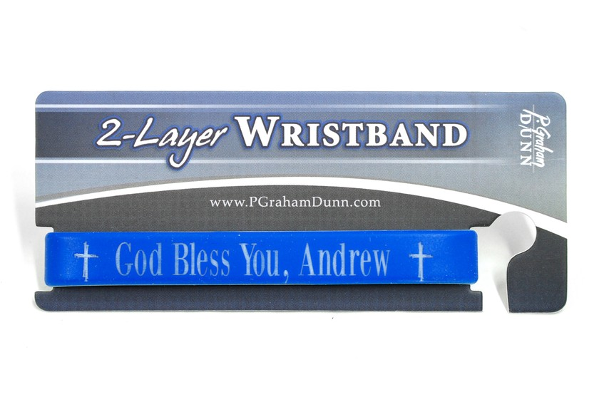Personalized, God Bless You, Wristband, Bold, Blue