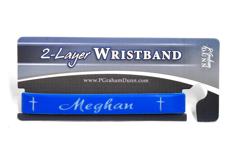 Personalized, Name in Script, Wristband, With Cross, Blue