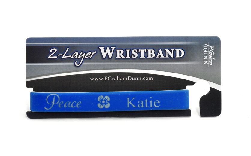 Personalized, Peace Wristband, With Name And Flower, Blue