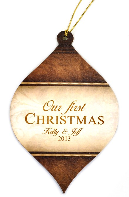 Personalized, Bulb Ornament, Brown, Our First Christmas