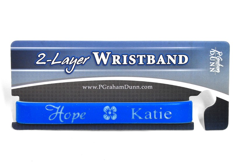 Personalized, Hope Wristband, With Name and Flower, Blue