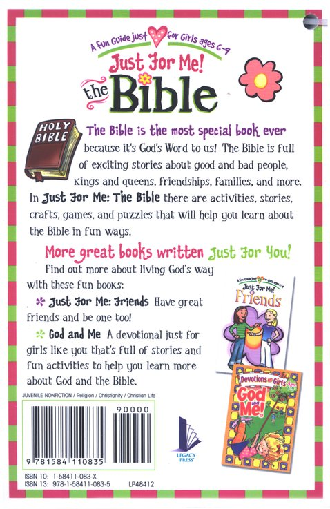 Just for Me! The Bible--A Fun Guide Just for Girls Ages 6-9