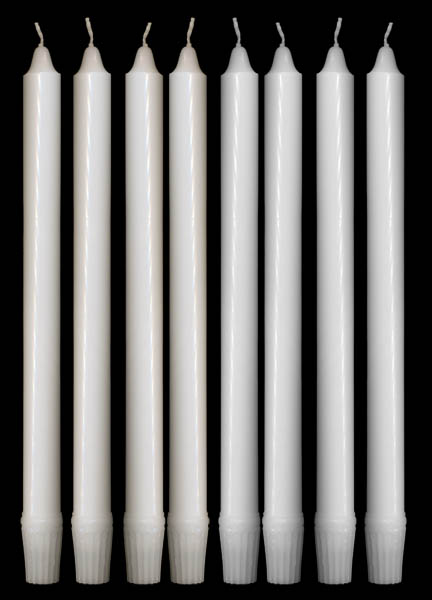 White Candles, 7/8 x 12 inches, Self-Fitting End, Set of 24