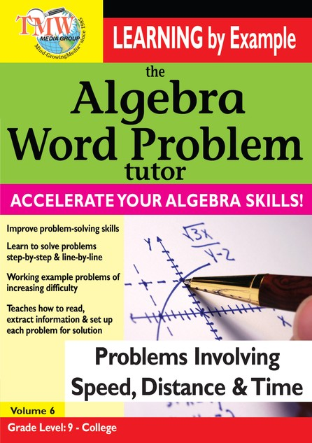 Algebra Word Problem: Problems Involving Speed, Distance, and Time DVD