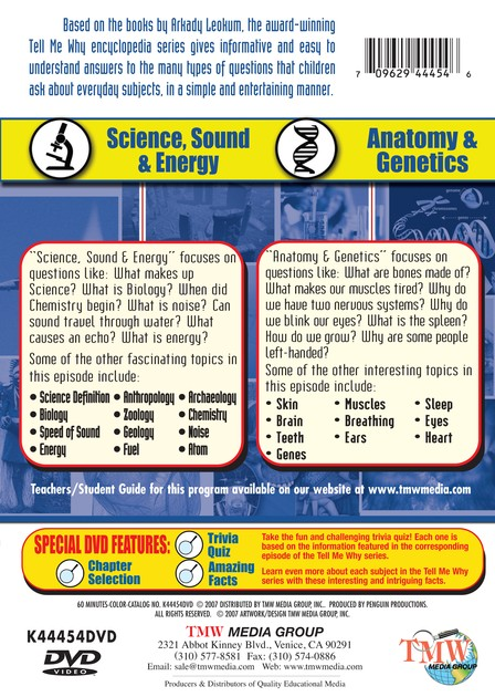 Tell Me Why: Science, Sound & Energy/Anatomy & Genetics DVD