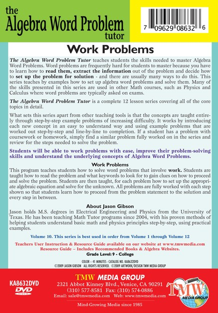 Algebra Word Problem: Work Problems DVD