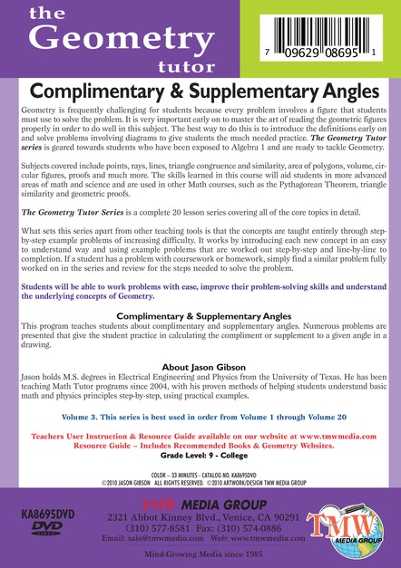 Complimentary & Supplementary Angles DVD