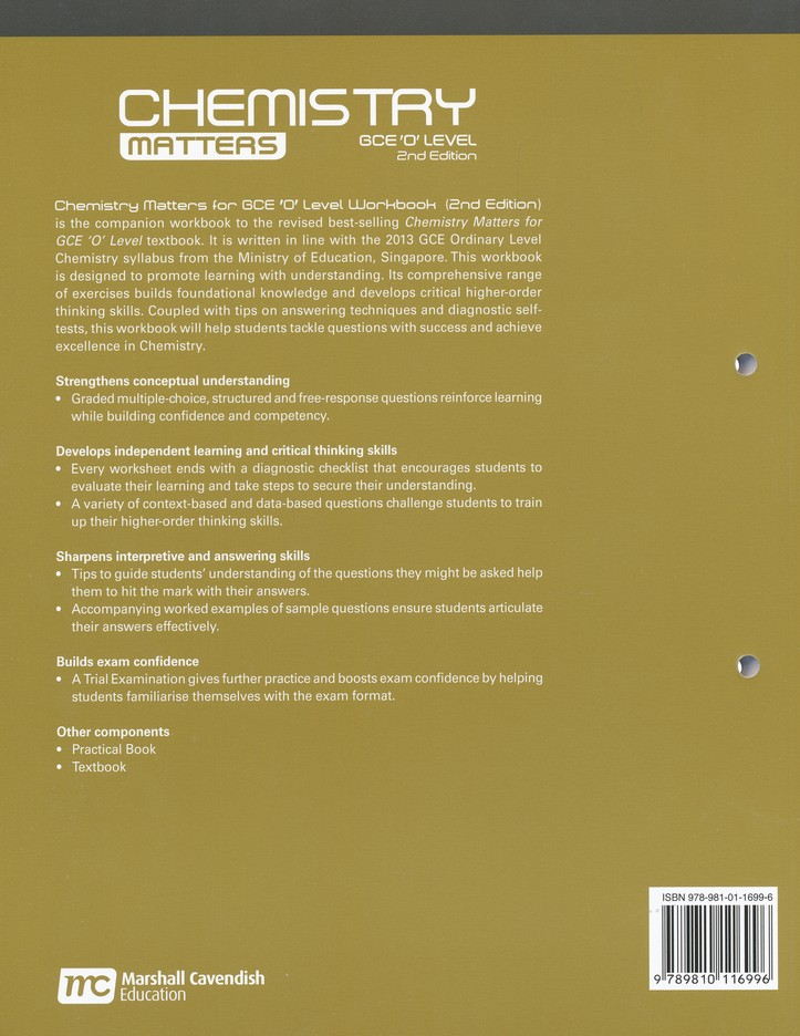 Chemistry Matters Workbook Grades 9 10 2nd Edition