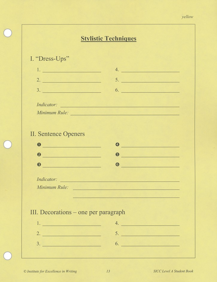 Student Writing Intensive Continuation Course Level A Extra Student Handout Packet