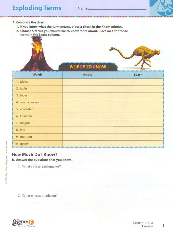 BJU Science Grade 6 Student Activity Manual, Third Edition