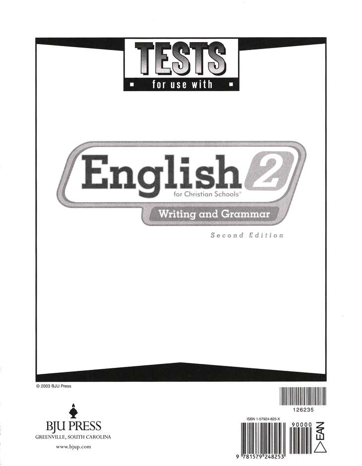 BJU English 2: Writing & Grammar, Tests (Second Edition)