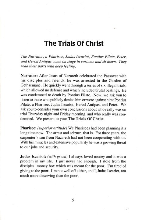 The Trials of Christ: Readers' Theater for Easter