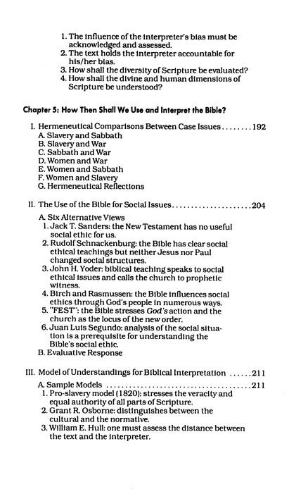 Slavery, Sabbath, War, and Women: Case Issues in Biblical Interpretation