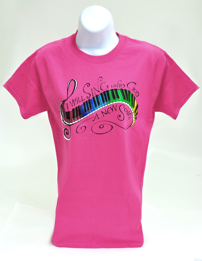 I Will Sing a New Song Shirt, Pink, Small
