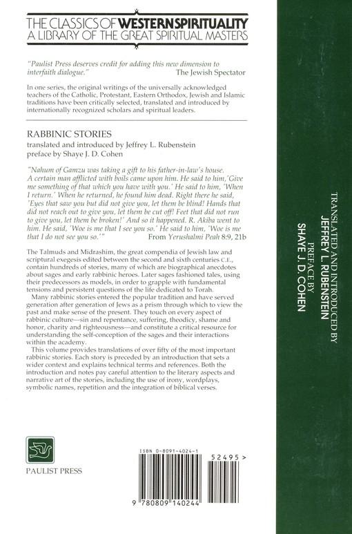 rabbinic stories classics of western spirituality