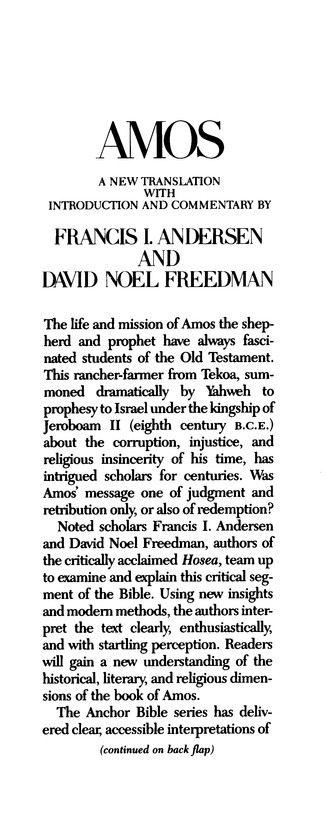 Amos: Anchor Yale Bible Commentary [AYBC]