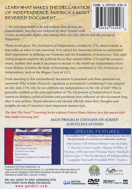 Just The Facts Learning Series: The Declaration of Independence, DVD