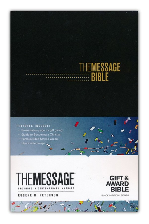 The Message Gift and Award Bible, Imitation Leather, Black