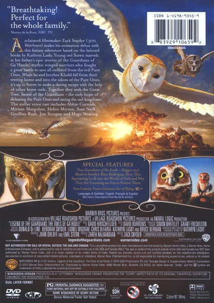 Legend of the Guardians: The Owls of Ga'Hoole, DVD