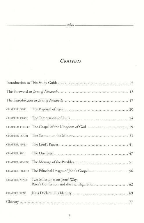 Jesus of Nazareth: From the Baptism in the Jordan to the Transfiguration, Volume I Study Guide