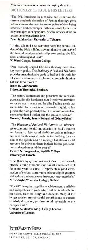 Dictionary of Paul and His Letters: A Compendium of Contemporary Biblical Scholarship