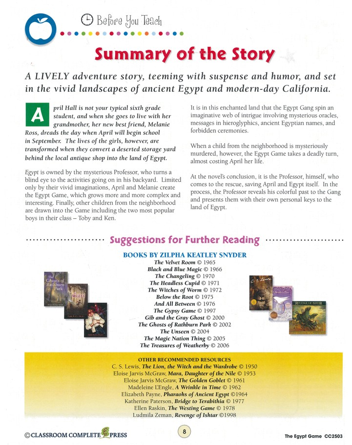 The Egypt Game Zilpha Keatley Snyder Literature Kit Nat Reed 9781553193357 Christianbook Com