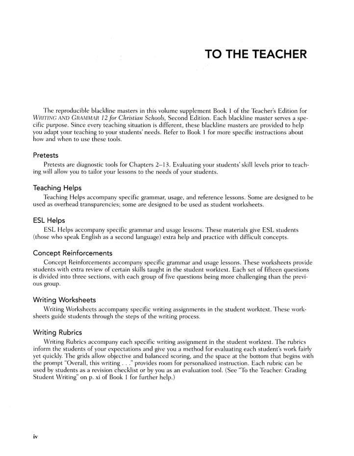 BJU Press Writing Grammar Grade 12 Teacher's Guide, Second Edition:  9781579248970 - Christianbook.com