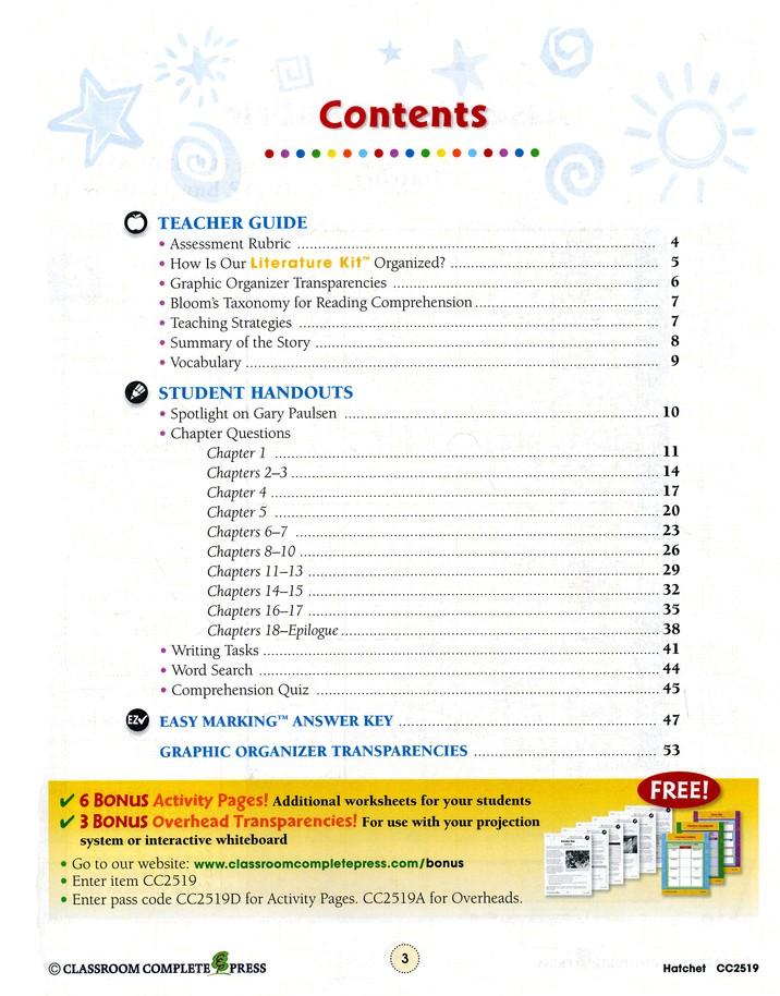 Hatchet Literature Kit (for Grades 5-6)