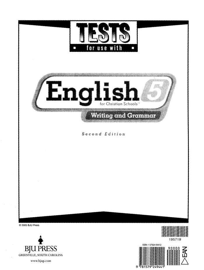 BJU English Grade 5 Tests (2nd Edition)
