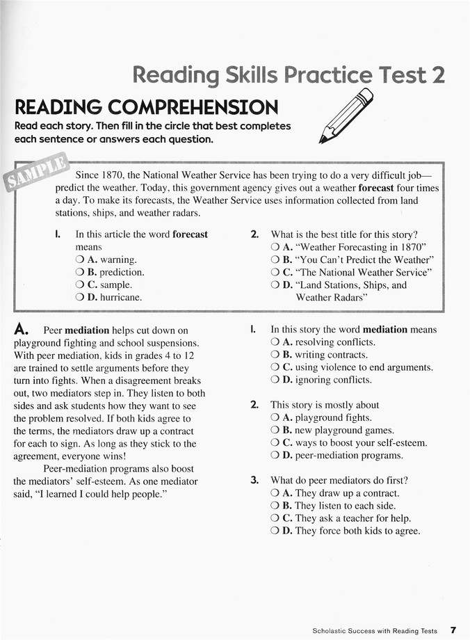 Scholastic Success With Reading Tests, Grade 6