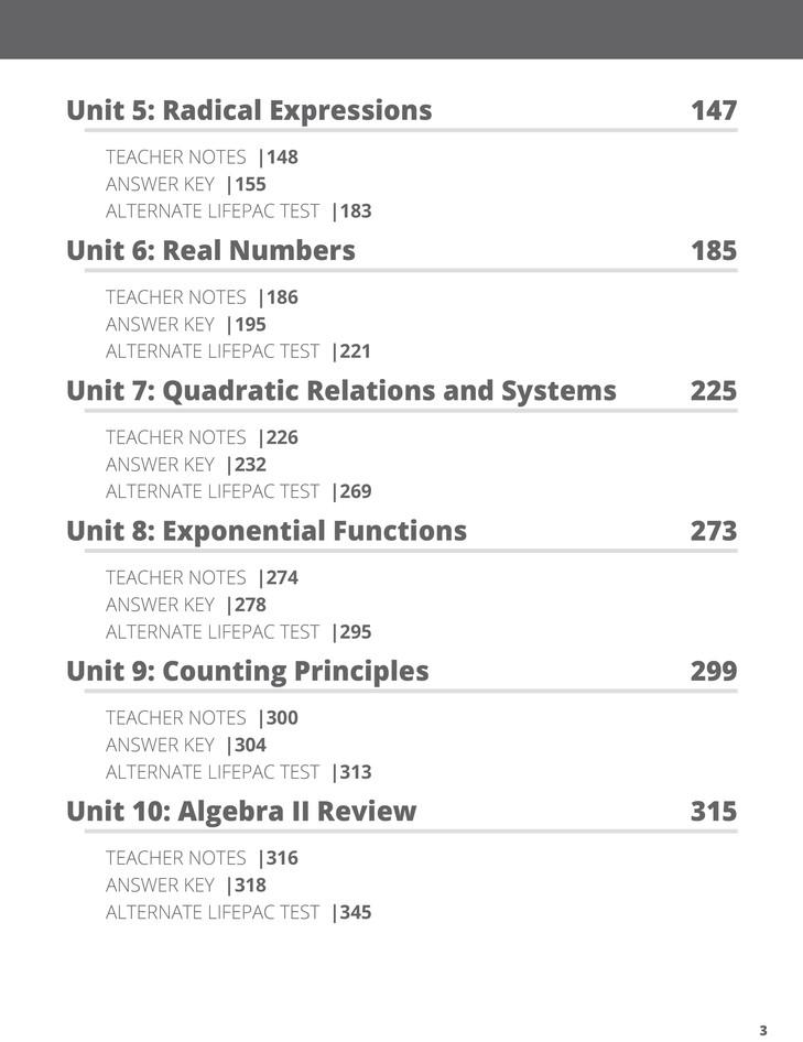 Lifepac Math, Grade 11 (Algebra II), Teacher's Guide