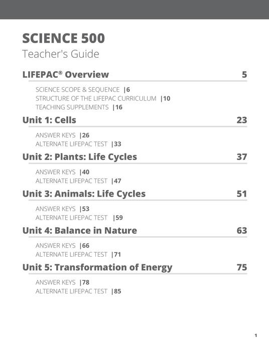 Lifepac Science, Grade 5, Teacher's Guide