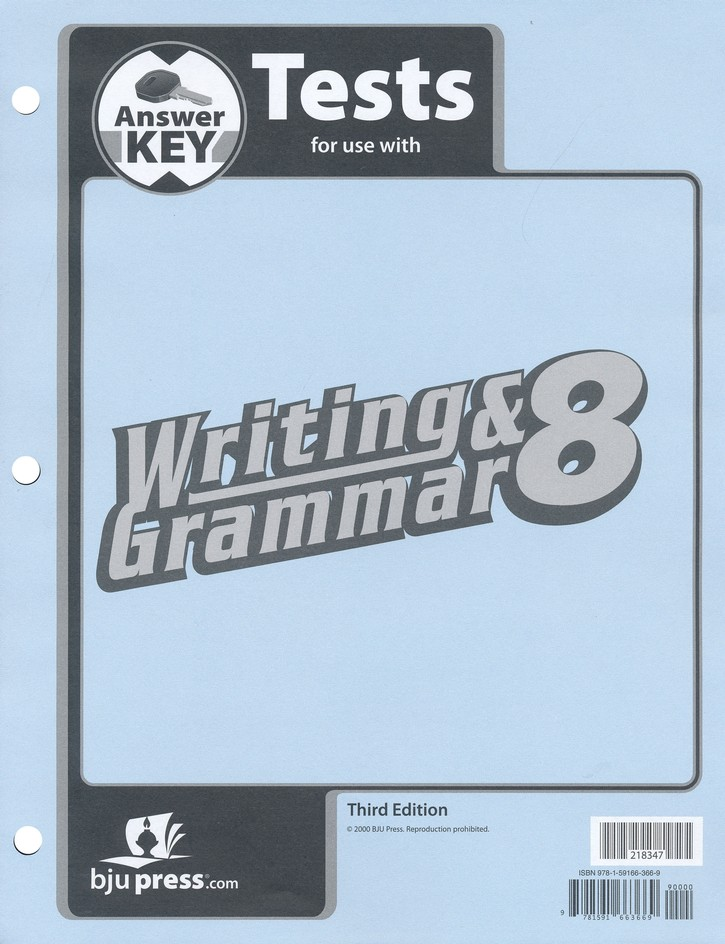 BJU Writing & Grammar Grade 8, Tests Answer Key (Third Edition)