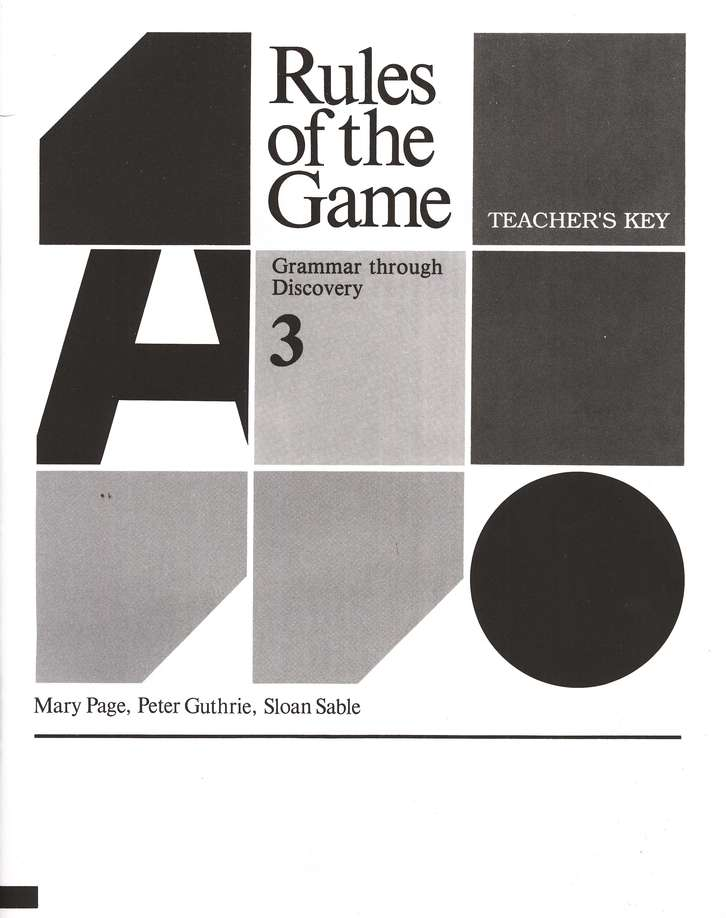 Rules of the Game, Teacher's Key, Book #3