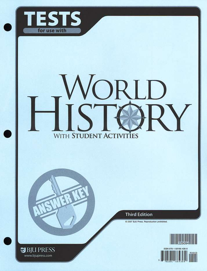 BJU World History Testpack Answer Key Grade 10, Third Edition
