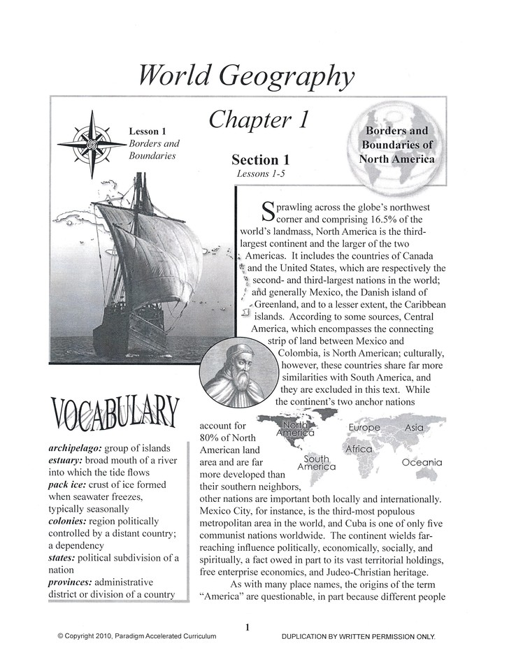 PAC World Geography, Chapter 1, Text