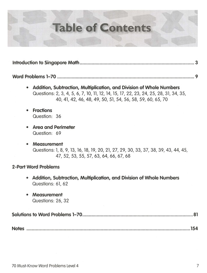 Singapore Math 70 Must-Know Word Problems, Level 4, Grade 5